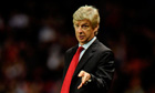 Arsenal's manager Wenger points during the match against Shrewsbury Town