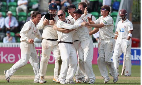 Gary Keedy, blue sunglasses centre, has signed a two-year contract with county champions Lancashire.