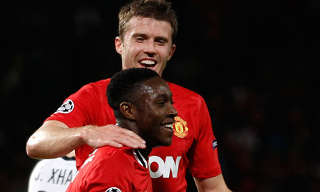 Manchester United's Danny Welbeck, front, and Michael Carrick