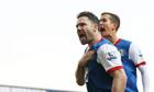 David Dunn celebrates with Morten Gamst Pedersen after scoring Blackburn's second goal