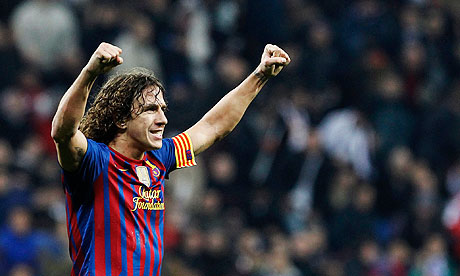 Carles Puyol on Barcelona S Carles Puyol  Scorer Of Their Equaliser  Celebrates After