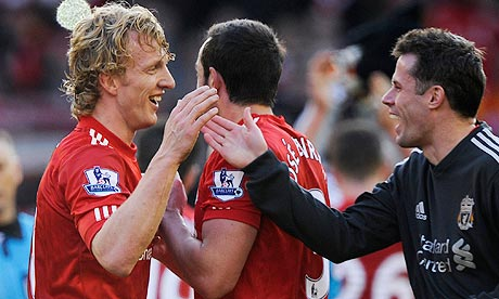 Dirk Kuyt celebrates at the final whistle
