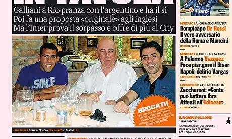Carlos Tevez is seen having lunch with Adriano Galliani and Kia Joorabchian in Gazzetta dello Sport