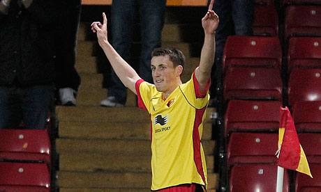 Craig Forsyth celebrates scoring his second and Watford's fourth against Bradford in the FA Cup
