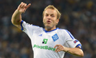 Oleh Gusev of Dynamo Kyiv celebrates scoring against Dinamo Zagreb in the Champions League