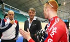 Roberto Mancini talks to Ed Clancy