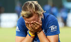 Danni Hazell of England reacts after losing the Women's World Twenty20 final