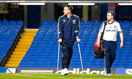切尔西队长特里疑似膝盖韧带受伤