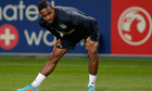 Raheem Sterling warms up during a training session ahead of England's friendly against Sweden.
