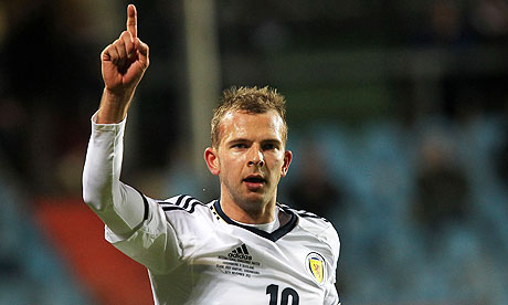 Jordan Rhodes celebrates his second goal for Scotland