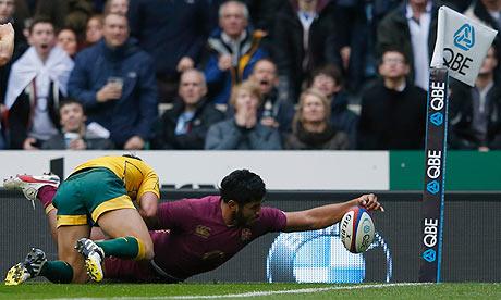 England's Manu Tuilagi scores against Australia in the autumn international at Twickenham