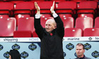 Ian Holloway applauds Crystal Palace fans at half-time of their match against Blackburn