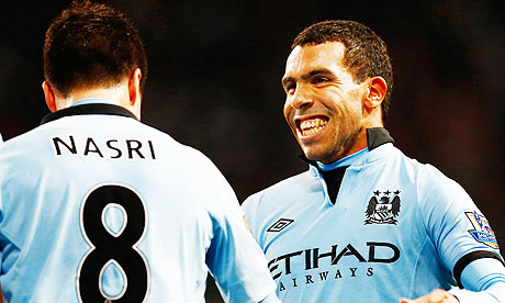 Samir Nasri, left, and Carlos Tevez.
