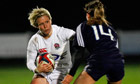 Danielle Waterman on the attack for England