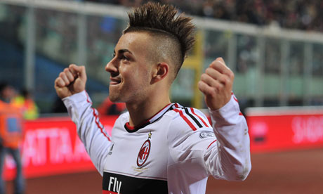 Stephan El Shaarawy celebrates after scoring for Milan in their win against Catania