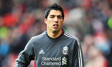Liverpool's Luis Suárez at Manchester United