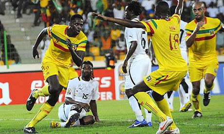Mali striker Cheick Diabaté after scoring against Ghana
