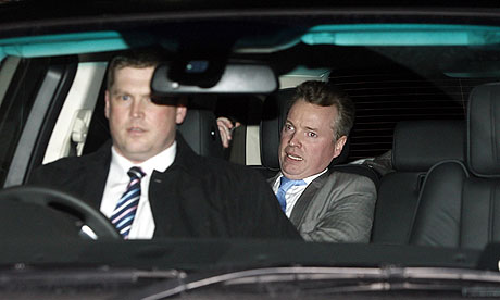 Rangers owner Craig Whyte is driven away from Ibrox