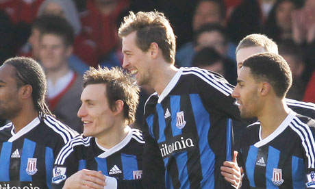 Stoke celebrate Peter Crouch's goal