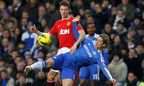 Fernando Torres and Jonny Evans