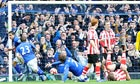 Everton's Tim Cahill celebrates after scoring against Sunderland in the FA Cup sixth round