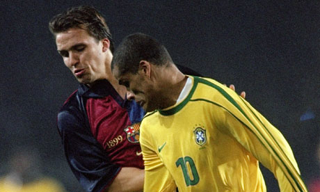Rivaldo of Brazil in action during a match against Barcelona