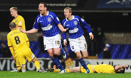 Michael Chopra of Ipswich Town celebrates his goal against Burnley