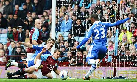 Chelsea's Daniel Sturridge scores against Aston Villa