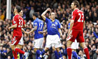 Everton's Leon Osman (centre, right) celebrates