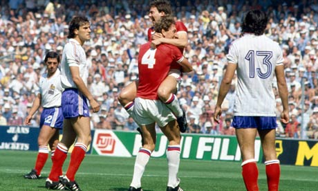 Bryan Robson celebrates with Terry Butcher after scoring in the England versus France match