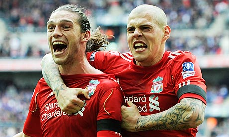 Liverpool's Andy Carroll celebrates his winning goal in the FA Cup semi-final against Everton