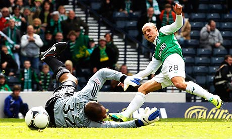 Hibernian's Leigh Griffiths scores against Aberdeen