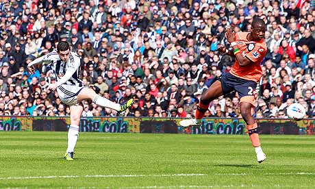 West Bromwich Albion's Graham Dorrans, left, opens the scoring against Queens Park Rangers