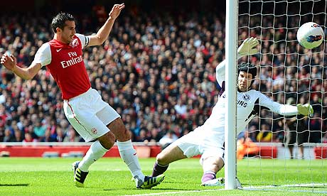 Robin van Persie hits the post