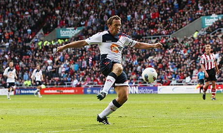 Bolton Wanderers' captain Kevin Davies, right, scores the opening goal against Sunderland