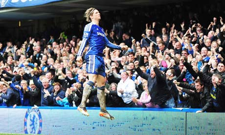 Fernando Torres celebrates his hat-trick