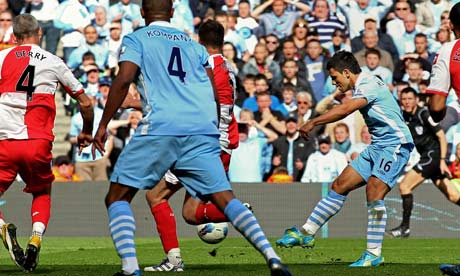 Sergio Aguero scores the winner