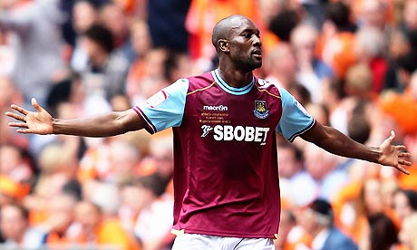 West Ham United's Carlton Cole celebrates against Blackpool in the Championship play-off final