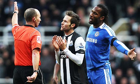 Newcastle United's Yohan Cabaye and Chelsea's Didier Drogba