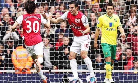 Arsenal's Yossi Benayoun celebrates after scoring his team's opening goal against Norwich City