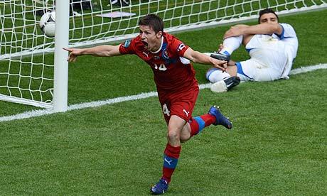 Vaclav Pilar celebrates after scoring for the Czech Republi