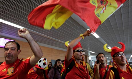 Fans of Spain arrive at Donetsk airport