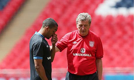 Theo Walcott and the England manager Roy Hodgson