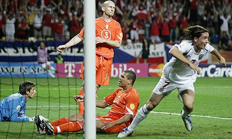 Vladimir Smicer scores the winner for the Czech Republic against Holland in 2004
