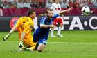 Wojciech Szczesny fouls Greece's Dimitris Salpingidis