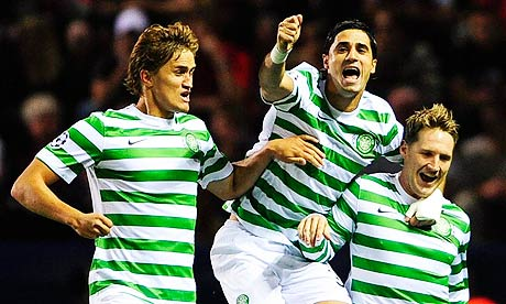 Celtic's Kris Commons celebrates scoring against Helsingborg