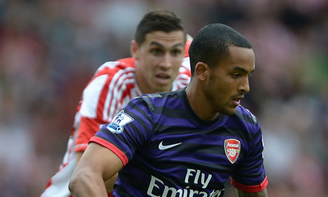 Theo Walcott playing for Arsenal at Stoke City