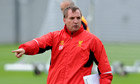 Liverpool's manager Brendan Rodgers during training at Melwood
