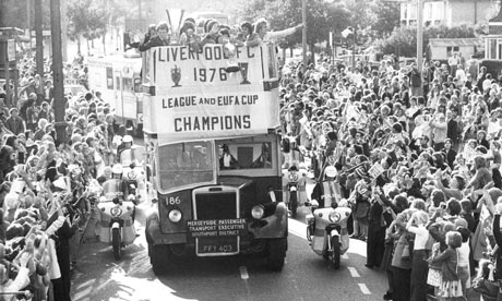 Crowds at Liverpool Fc's homecoming after the team won the League and the Uefa Cup