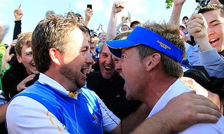 Graeme McDowell and Ian Poulter after 2010 Ryder Cup